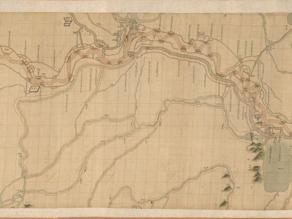 This scroll map of China's Yellow River was made around 1750.