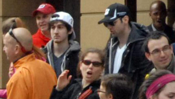 Tamerlan Tsarnaev, 26, center right in black hat, and his brother, Dzhokhar A. Tsarnaev, 19, were responsible for the 2013 bombings at the Boston Marathon, which killed three people and injured more than 260.