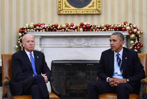 President Obama, joined by Vice President Joe Biden, delivers a statement at the White House about gun violence. Thursday's remarks come a day after at least 14 people were killed in a mass shooting in San Bernardino, Calif.