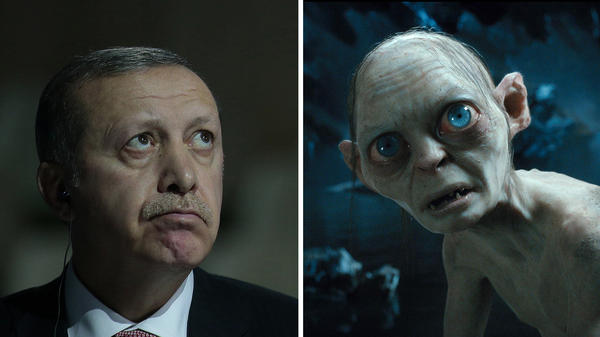 Left: Turkish President Recep Tayyip Erdogan attends the COP 21 United Nations conference on climate change, in France on Monday. Right: Gollum in the 2012 film <em>Hobbit: An Unexpected Journey.</em>