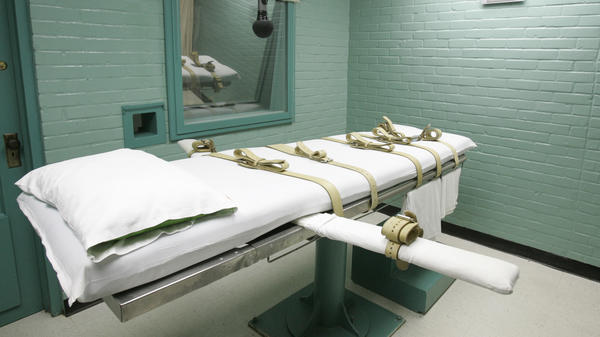 A gurney in Huntsville, Texas, where death row inmates are strapped down to receive a lethal dose of drugs.