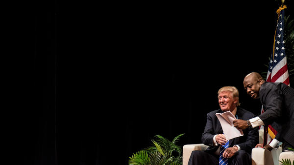 Sen. Tim Scott, R-S.C., hosts Donald Trump in his series of town halls with GOP presidential candidates in September.