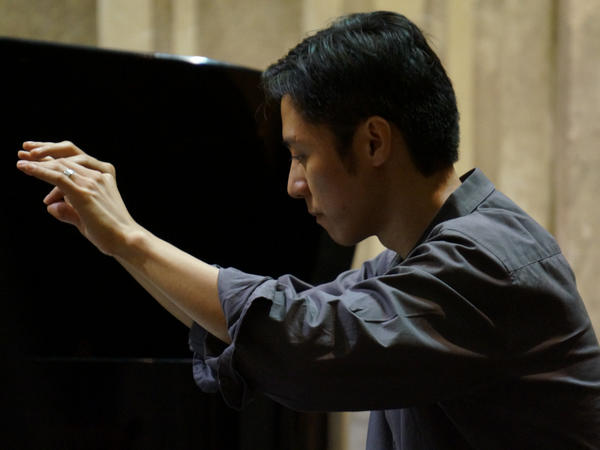 Composer Patrick Castillo leads the Third Sound ensemble in a Havana performance in November 2015.