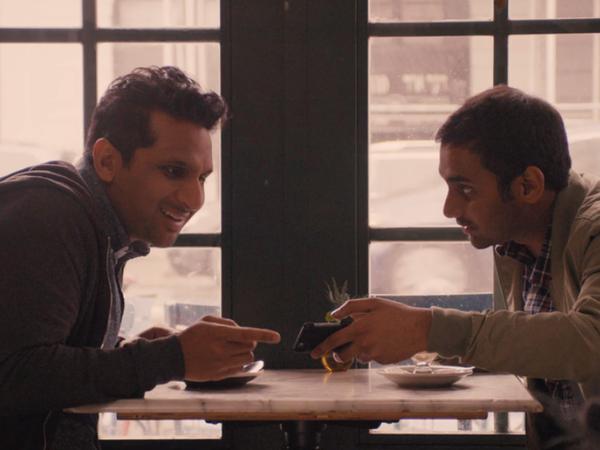 """Dev (Aziz Ansari) tells Ravi (Ravi Patel) that the """"Indian"""" actor Ravi's admired is actually a white guy in brown face."""