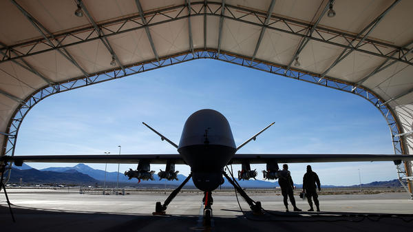 An MQ-9 Reaper remotely piloted aircraft is prepared for a training mission Nov. 17 at Creech Air Force Base.