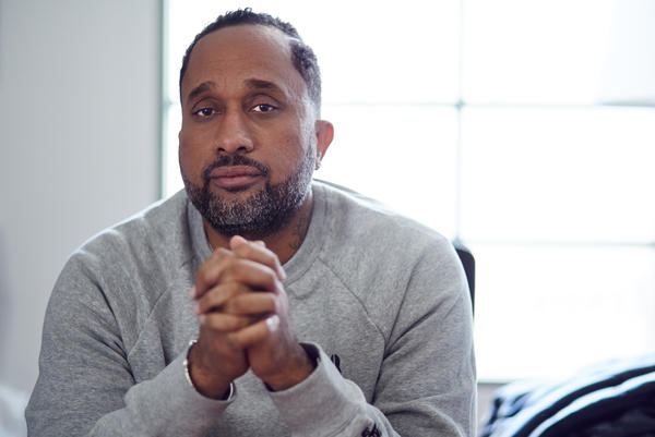 Kenya Barris, the creator and writer of <em>Black-ish</em>, in his office on the ABC lot in Burbank, Calif., in December. <em>Black-ish</em> is now in its second season, airing on ABC.