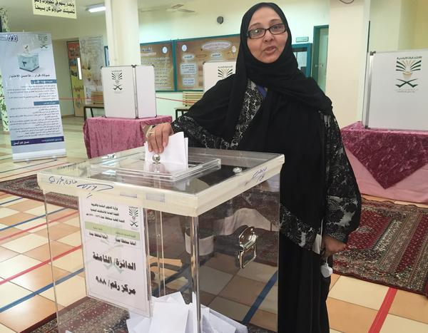 Candidate Sameera abu al-Shamat votes in Saudi Arabia's municipal elections on Saturday. Shamat did not win a seat.