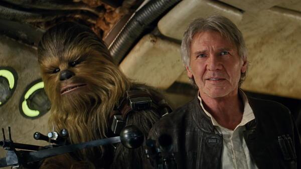 Both Chewbacca (Peter Mayhew) and Han Solo (Harrison Ford) return in <em>Star Wars: The Force Awakens</em>.