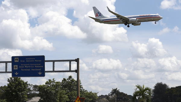 An American Airlines airplane prepares to land at the Jose Marti International Airport in Havana on Sept. 19. Currently charter flights (including American Airlines charters) are the only way to fly between the two countries, but commercial flights are set to resume under a new aviation agreement.