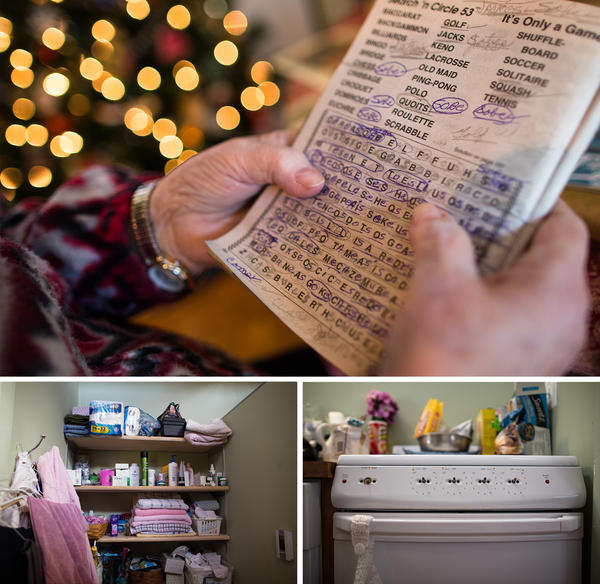 Helen spends hours a day working on word searches. In her specially designed apartment, shelves are open so she can find what she needs. Knobs have been taken off the stove to prevent accidents.