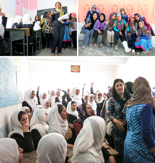 At top left, expedition leader Danika Gilbert speaks to Panjshiri schoolgirls about the climb. At top right, American guide Emilie Drinkwater poses with climbers. At bottom, Afghan schoolgirls ask questions of the mountain climbing team after a presentation.