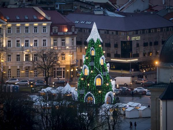 The national Christmas tree stands in Cathedral Square in Vilnius, Lithuania.