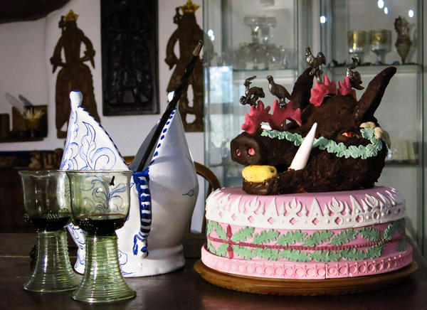 In olden days, Christmas celebrations were all about novelty and variety. Here, a boar's head cake, traditionally stuffed with ice cream right before serving.