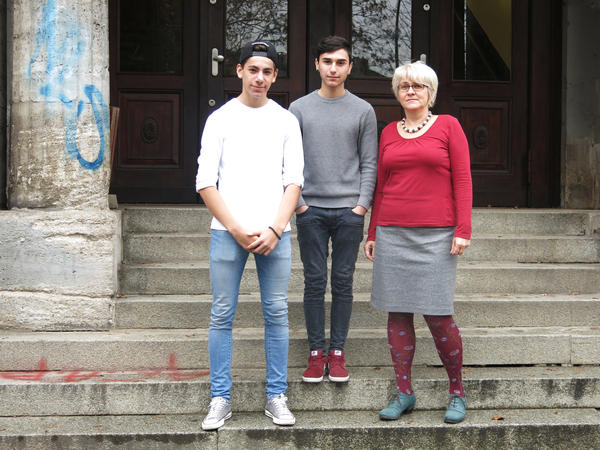 Jamil Mohamad Amin, 16, (left), Zara Hussein, 16, (center) and Vice Principal Silke Donath at Johanna-Eck School in Berlin. The school has students from many backgrounds. Both students are Syrian Kurds who migrated to Germany.