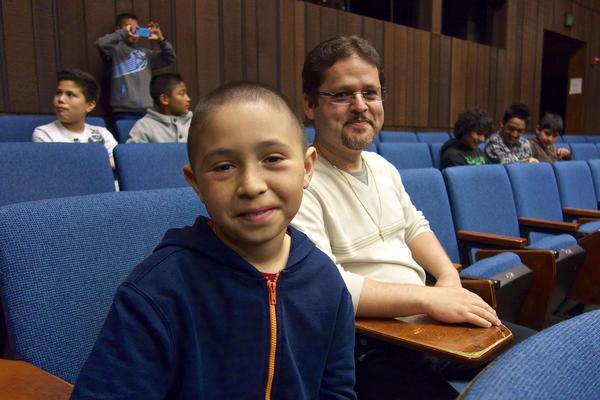 Oscar Ramos (right) took fifth- and sixth-graders, including José Anzaldo (left), to visit the University of California, Berkeley.