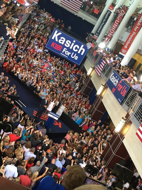 John Kasich announced his presidential bid in July at Ohio State University, where he went to college.