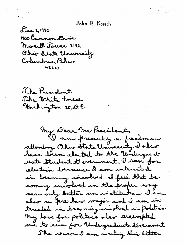 """As a college student, Kasich wrote to Nixon calling him """"not only a great president but an even greater person"""" and asking to visit the president in Washington. Nixon obliged."""