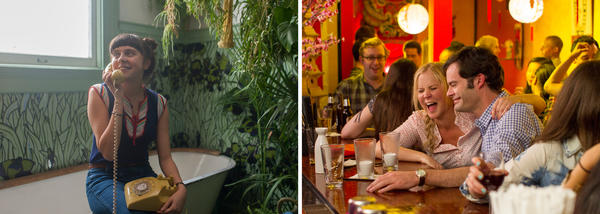(Left) Bel Powley in <em>The Diary of a Teenage Girl</em>. (Right) Amy Schumer and Bill Hader in <em>Trainwreck</em>.
