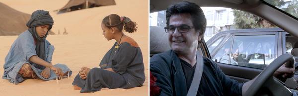 (Left) Mehdi A.G. Mohamed  and Layla Walet Mohamed in <em>Timbuktu</em>. (Right) Director Jafar Panahi in <em>Taxi</em>.