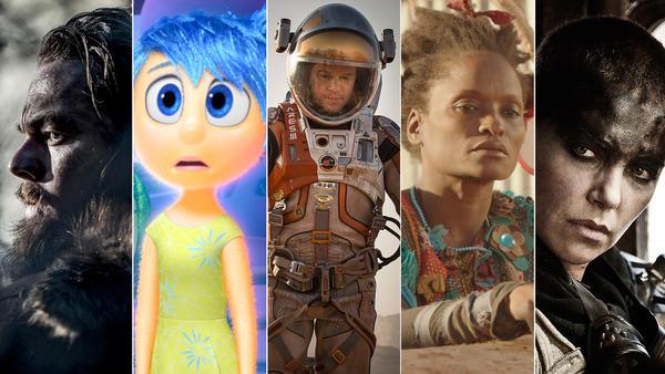 (From left) Leonardo DiCaprio in <em>The Revenant</em>; Amy Poehler as Joy in <em>Inside Out</em>; Matt Damon in <em>The Martian</em>; Kettly Noël in <em>Timbuktu</em>; and Charlize Theron in <em>Mad Max: Fury Road</em>.