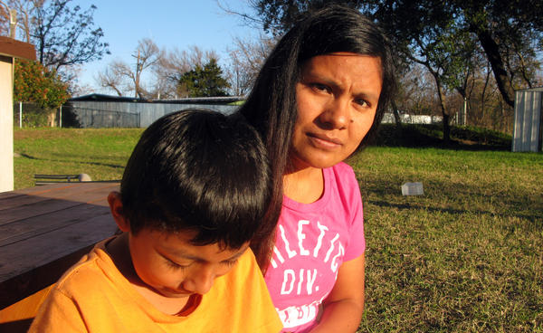 Hilda Ramirez and her son, Ivan, are staying at a shelter home in Austin. They fear that Immigration and Customs Enforcement agents will come and arrest them any minute.