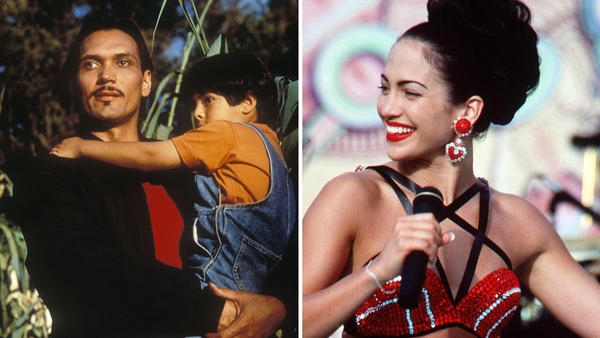 At left, Jimmy Smits in <em>My Family</em>. At right, Jennifer Lopez in <em>Selena</em>.