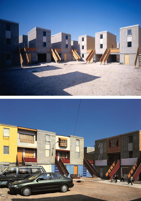 "<strong>Quinta Monroy Housing, Iquique, Chile, 2004:</strong> ""The challenge of this project was to accommodate 100 families living in a 30-year-old slum,"" Aravena says. ""We provided the families with the 'half a house' [top photo] that would be difficult for them to build for themselves and we gave them space to 'complete the house' as their means allowed [bottom photo]."""