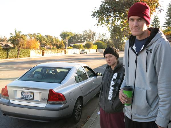 "Sierra Meysami and Tov Johnson in Huntington Beach, Calif. Local police arrested them in late November for having heroin, meth and stolen property in this car. They were booked into jail, but because Prop 47 reclassified their alleged offenses as misdemeanors, police say, they were released within hours. Meysami says Prop 47 is an improvement, because jail time is ""too much for drug addicts."""