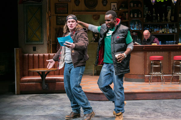 "In Lynn Nottage's play <em>Sweat, </em> Jason (Stephen Michael Spencer, left) and Chris (Tramell Tillman) are workers at a steel tubing plant in Reading, Pa. Nottage says she wanted to write about ""how poverty and economic stagnation were shifting the American narrative."""