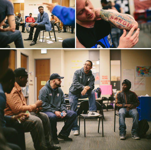 (Top, left) In an exercise designed to open up the conversation between veterans and teenagers, Navy veteran Jamal McPherson waits for others to ask him questions. (Top, right) Veteran Mikhail Dasovich, who served as a Marine in Sangin in Afghanistan, shares his tattoos with participants. (Bottom) Bocanegra speaks at the start of the day's program.