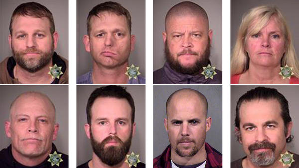 Eight people who were involved in the occupation of the headquarters of the Malheur National Wildlife Refuge in Oregon were arrested on Tuesday. (Top, from left) Ammon Bundy, Ryan Bundy, Brian Cavalier and Shawna Cox. (Bottom, from left) Joseph Donald O'Shaughnessy, Ryan Payne, Jon Eric Ritzheimer and Peter Santilli.