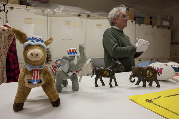 Rubenstein talks about memorabilia from different presidential campaigns.
