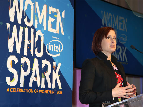 Intel Chief Diversity Officer Danielle Brown speaks during the Women Who Spark Awards presented by Intel in Las Vegas on Jan. 7.