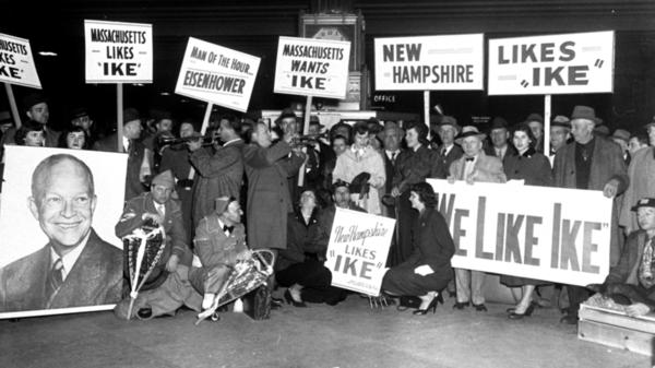 Delegations of Dwight Eisenhower supporters from New Hampshire and Massachusetts at Boston's South Station in 1952.