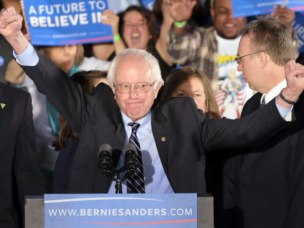 """Bernie Sanders told supporters after winning the New Hampshire primary, """"The American people bailed out Wall Street; now it's Wall Street's time to help the middle class."""""""