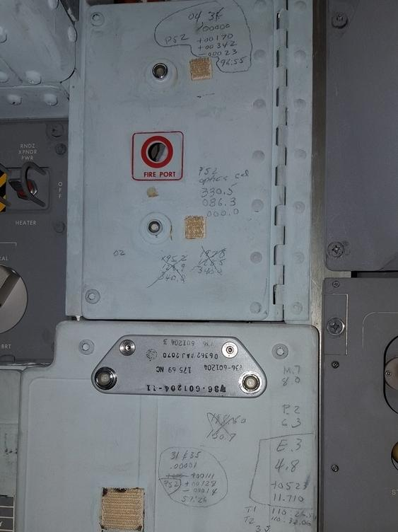 The crew recorded numbers from mission control voice communications on this panel just to the left of where the command module pilot, Michael Collins, would have stood.