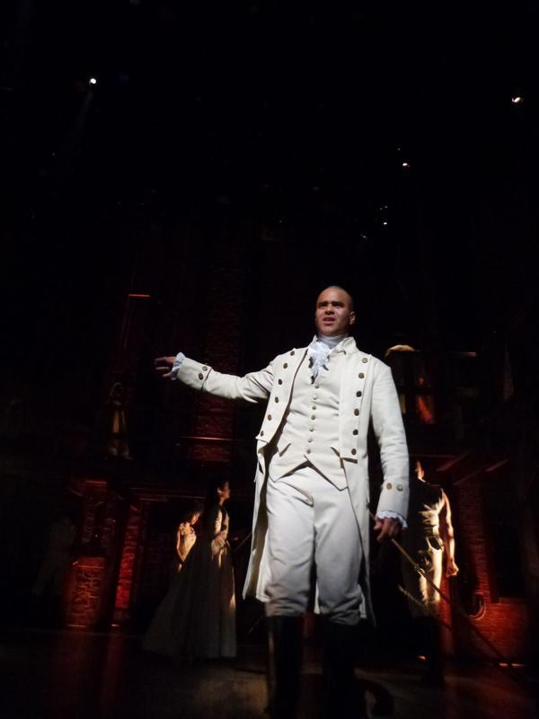 Christopher Jackson, who plays George Washington, rehearses on stage, Feb. 15, 2016, ahead of performing for the Grammys from New York's Richard Rodgers Theatre. (Karyn Miller-Medzon)