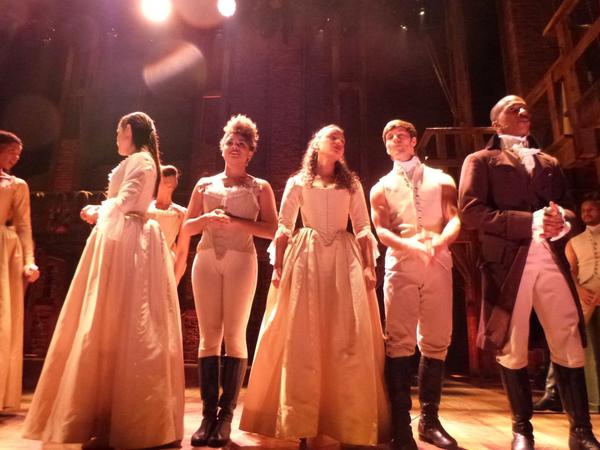 """""""Hamilton"""" cast members rehearse on stage, Feb. 15, 2016, ahead of performing for the Grammys from New York's Richard Rodgers Theatre. (Karyn Miller-Medzon)"""