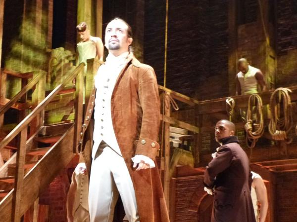 Lin-Manuel Miranda, who stars as Alexander Hamilton,rehearses on stage, Feb. 15, 2016, ahead of performing for the Grammys from New York's Richard Rodgers Theatre. (Karyn Miller-Medzon)