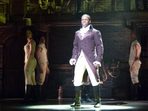 Leslie Odom Jr., who stars as Aaron Burr, rehearses on stage, Feb. 15, 2016, ahead of performing for the Grammys from New York's Richard Rodgers Theatre. (Karyn Miller-Medzon)