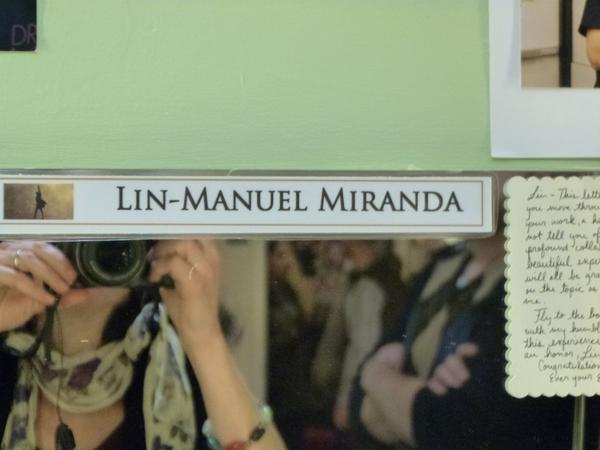 """Backstage in the dressing room of Lin-Manuel Miranda, who stars as Alexander Hamilton in """"Hamilton."""" (Karyn Miller-Medzon)"""