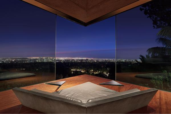 Nestled into the side of a canyon, Goldstein's house looks out over downtown Los Angeles and beyond.