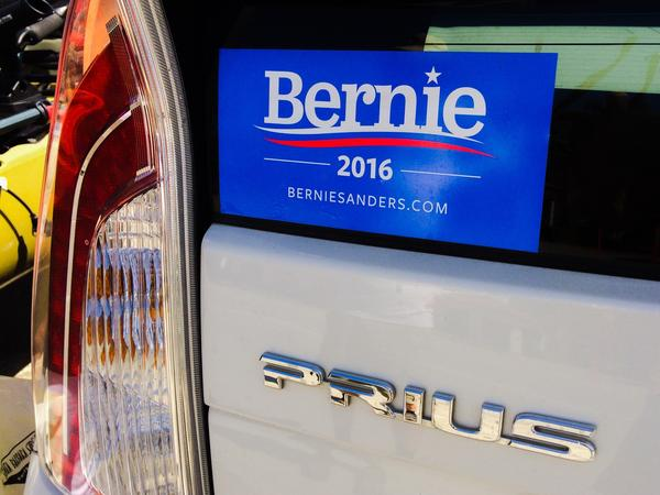 A Bernie Sanders campaign sticker is seen on a Toyota Prius in Santa Barbara, Calif. Prius owners, however, are more likely to support Ted Cruz according to a recent survey.