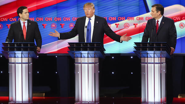 Marco Rubio (from left), Donald Trump and Ted Cruz on stage at Thursday's Republican debate in Houston.