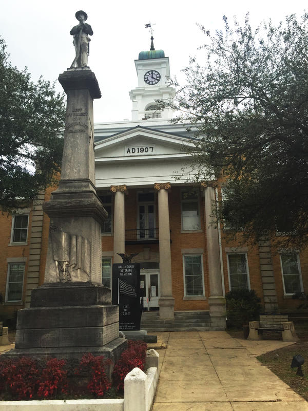 The historic Hale County Courthouse in downtown Greensboro, Ala. The county was home to one of the nation's first groups to advocate for equal voting rights — the Hale County Civic Improvement League.