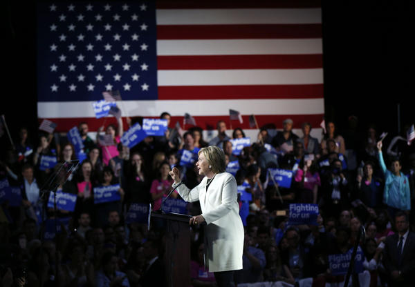 Democratic presidential candidate Hillary Clinton addresses supporters at her Super Tuesday election night rally in Miami, Fla.
