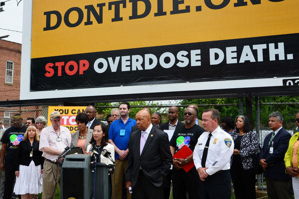 Wen and Mayor Stephanie Rawlings-Blake unveil recommendations of the Mayor's Heroin Treatment & Prevention Task Force report in July 2015.