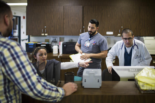 Lebow (far right) is medical director of this urgent care center run by Reliant Immediate Care Medical. The clinic is adjacent to Los Angeles International Airport and is open 24/7.