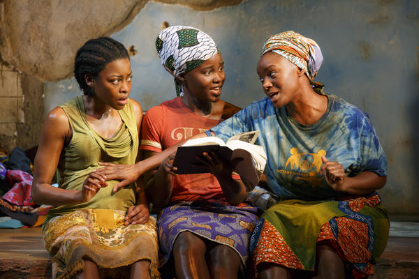 Gurira was inspired to write <em>Eclipsed</em> after reading an article in <em>The New York Times </em>about the Civil War in Liberia. Above, from left, Pascale Armand, Lupita Nyong'o and Saycon Sengbloh.
