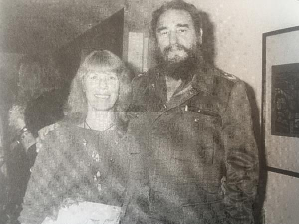 Lorna Burdsall with Fidel Castro in Havana, 1983.